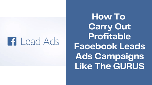 How To Carry Out Profitable Facebook Leads Ads Campaigns Like The GURUS
