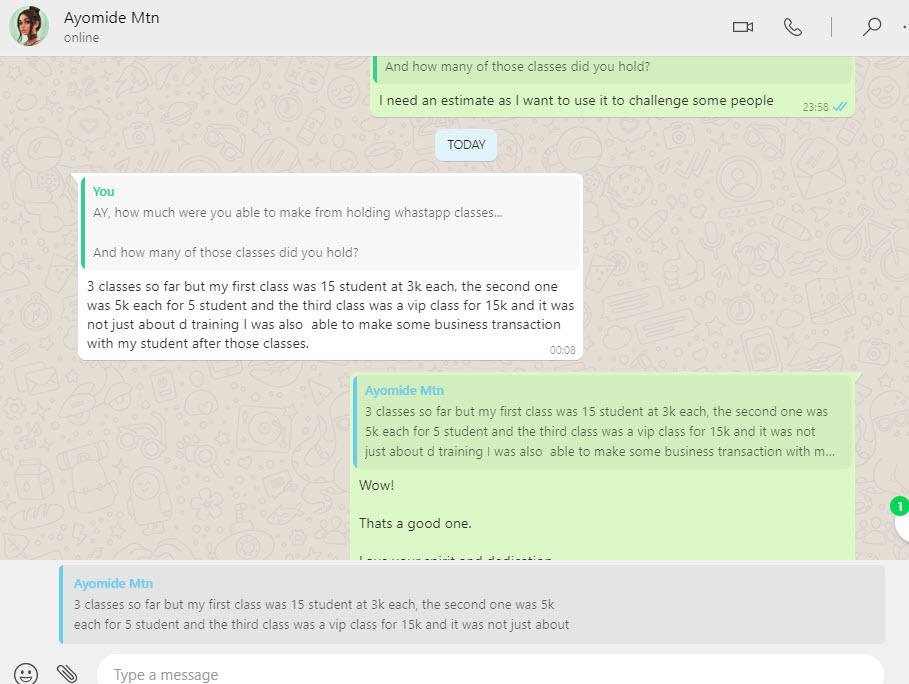 whatsapp classes testimonials